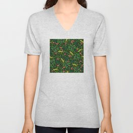 Neon Tropical Green Lizards and Jungle Leaves Unisex V-Neck