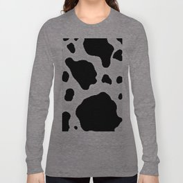 Black and White Cow Animal Pattern Print Long Sleeve T-shirt