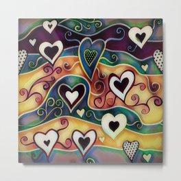 Funky Hearts Metal Print