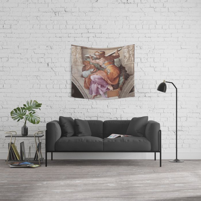 The Libyan Sybil Sistine Chapel Ceiling by Michelangelo Wall Tapestry