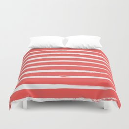 Irregular Hand Painted Stripes Coral Red Duvet Cover
