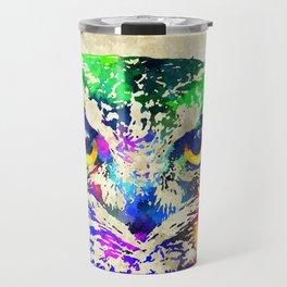 Owl Watercolor Grunge Travel Mug