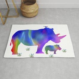 Rainbow Rhino mom and baby Rug