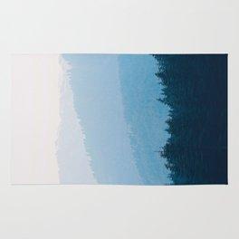 Parallax Mountain Hills Blue Hues Minimal Modern Landscape Photo Rug