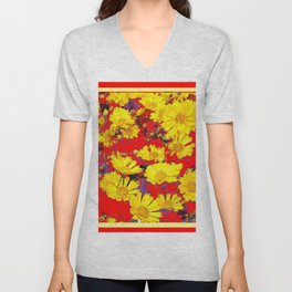 RED  & YELLOW COREOPSIS  FLORAL  ART DESIGN Unisex V-Neck