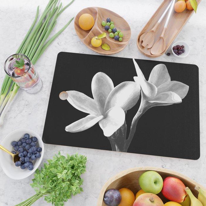 White Flowers Black Background Cutting Board