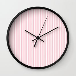 Classic Small Pink Petal French Mattress Ticking Double Stripes Wall Clock