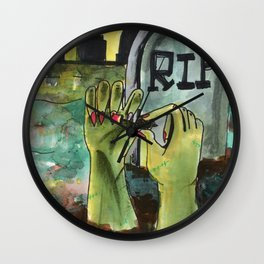 zombies painting nails Wall Clock