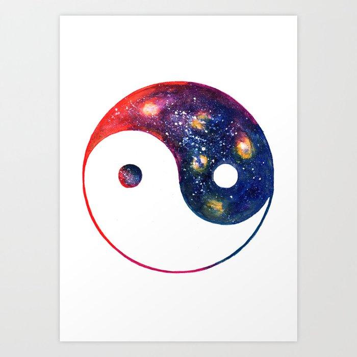 Yin Yang Symbol Watercolor Art Print By Aquarellesdemariastore