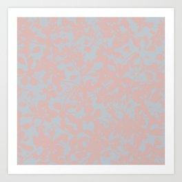Soft Pink & Gray Floral Silhouette Pattern - Broken but Flourishing Art Print