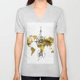 Gold World Map 2 Unisex V-Neck