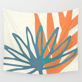 Mid Century Nature Print / Teal and Orange Wall Tapestry
