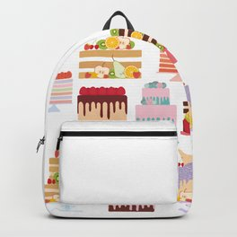Birthday, valentine's day, wedding, engagement. Set sweet cake, fruits, berries Backpack