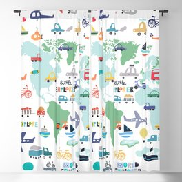 Travel The World Trains Planes Cars Trucks Map Blackout Curtain