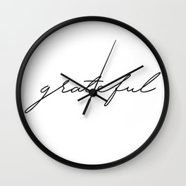 Grateful lettering design Wall Clock