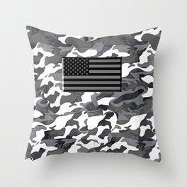Camo Proud American Flag Throw Pillow