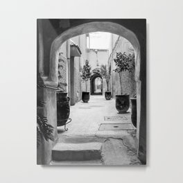 Beautiful street in Marrakech, Morocco, in black and white Metal Print
