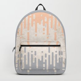 Marble and Geometric Diamond Drips, in Grey and Peach Backpack