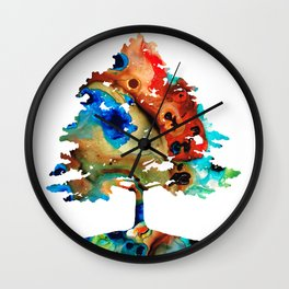 All Seasons Tree 3 - Colorful Landscape Print Wall Clock