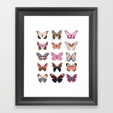 Pink Butterfly Collage Framed Art Print