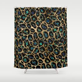 Leopard Faux Fur Texture Marble and gold Shower Curtain