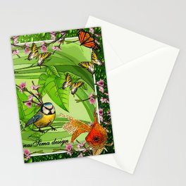 Birdy & Fishy spring green Stationery Cards
