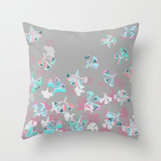Flight - abstract in pink, grey, white & aqua Throw Pillow