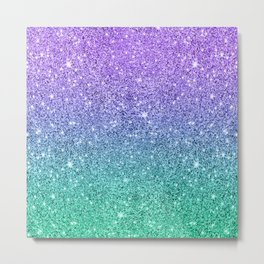 Sparkling faux glitter ombre purple to green Metal Print
