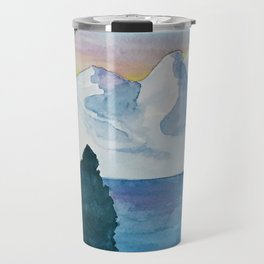 Spanish Snowy Mountains over the River Travel Mug