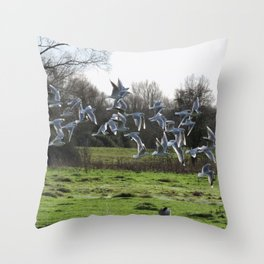 J L's Flock Throw Pillow
