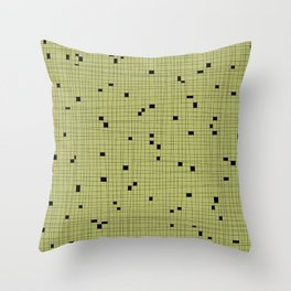 Light Green and Black Grid - Missing Pieces Throw Pillow