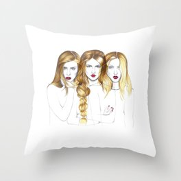 Three blondes Throw Pillow
