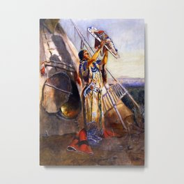 """Montana Sun Worship"" by Charles M Russell Metal Print"