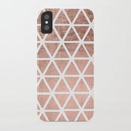 Geometric faux rose gold foil triangles pattern iPhone Case