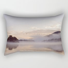 Into the Mists of Dawn: Sunrise on Lake George Rectangular Pillow