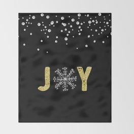 JOY w/White Snowflakes Throw Blanket