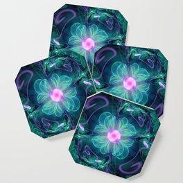 The Enigma Bloom, an Aqua-Violet Fractal Flower Coaster