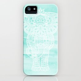 Aqua Watercolor Mandala Elephant iPhone Case