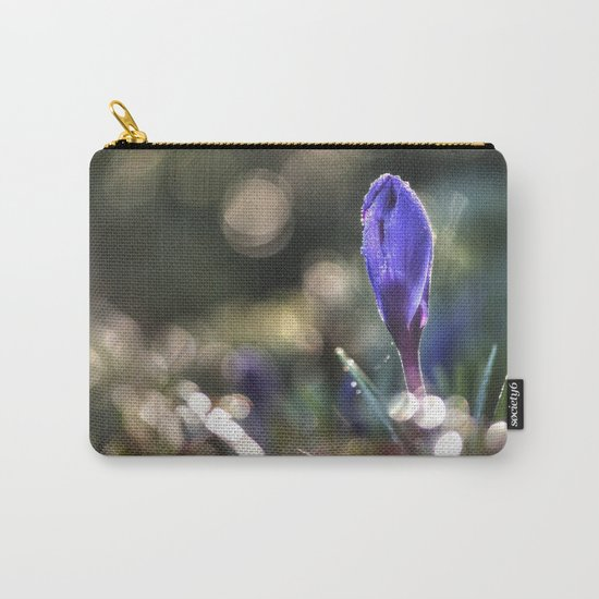 Blue Crocus at backlight- Flower Springflower Droplet Carry-All Pouch