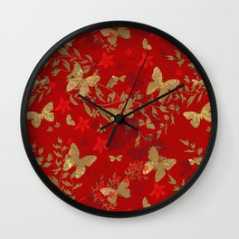 Grunge brown butterfly on a red floral background . Wall Clock