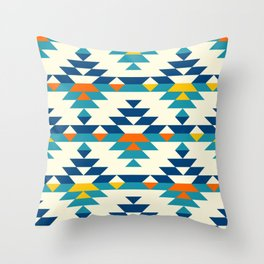 Boho stylized colorful aztec diamonds pattern Throw Pillow