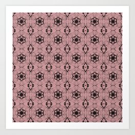 Bridal Rose Floral Geometric Pattern Art Print