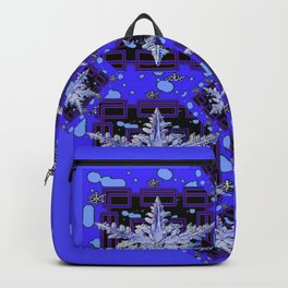 BLUE WINTER HOLIDAY SNOWFLAKES PATTERN ART Backpack