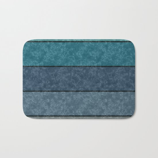 Blue and gray marble striped pattern . Bath Mat