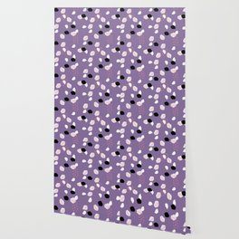 Hand painted ultra violet pink blue brushstrokes dots Wallpaper