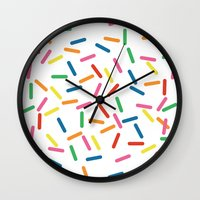 sprinkles Wall Clocks featuring Sprinkles by Gold Collective