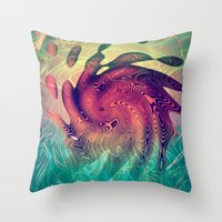 underwater Throw Pillows featuring Underwater by GypsYonic