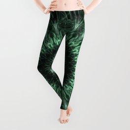 Graphic mandala in dark green tones Leggings