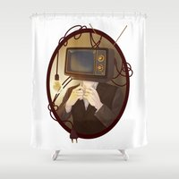 tv Shower Curtains featuring TELEVISION by FISHNONES