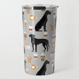 Great Dane coffee black coat color custom pet portrait dog art by pet friendly Travel Mug